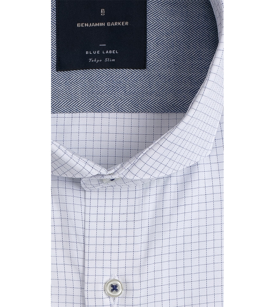 Load image into Gallery viewer, Sanzai Easy Iron Graph Check Shirt Collar