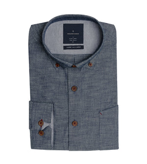 Load image into Gallery viewer, Kenji Textured Chambray Shirt Folded