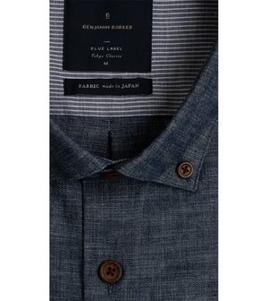 Load image into Gallery viewer, Kenji Textured Chambray Shirt Collar