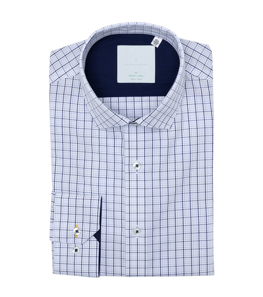 Herringham Easy Iron Check Shirt Folded