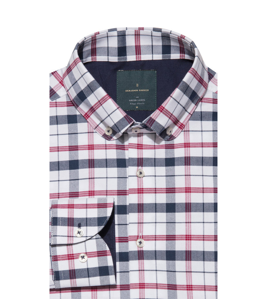 Load image into Gallery viewer, Takaji Vintage Oxford Plaid Shirt Folded