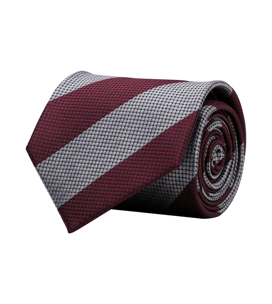 Honeycomb Oxford Tie In Silver and Maroon Full