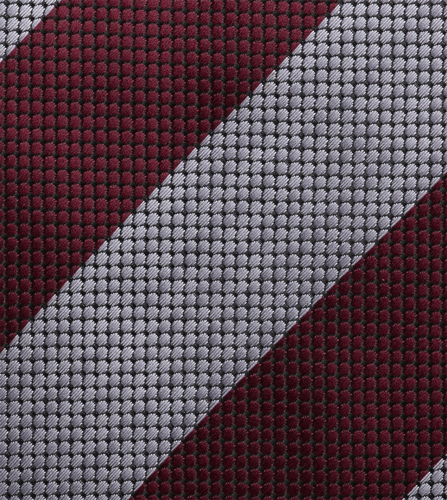 Load image into Gallery viewer, Honeycomb Oxford Tie In Silver and Maroon Fabric