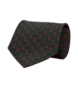 Load image into Gallery viewer, Silk Tie Forest Green Geometric