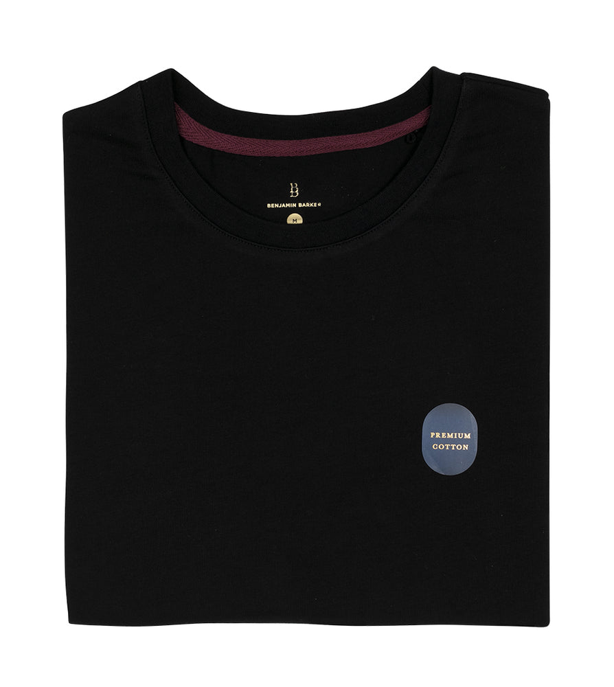Copy of Washed Cotton Tee in Black Folded