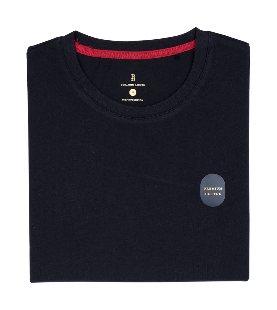 Washed Cotton Tee in Navy Folded