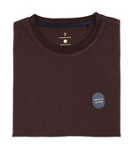 Washed Cotton Tee in Dark Brown Folded