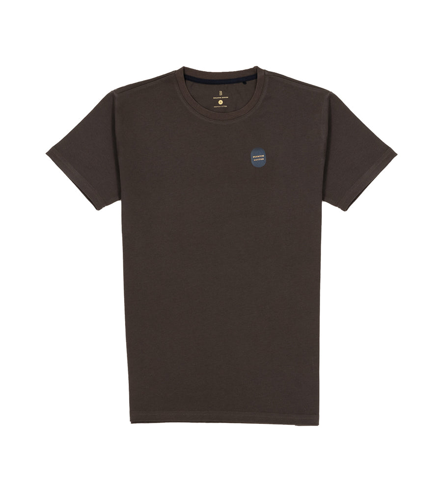 Washed Cotton Tee in Dark Grey Full
