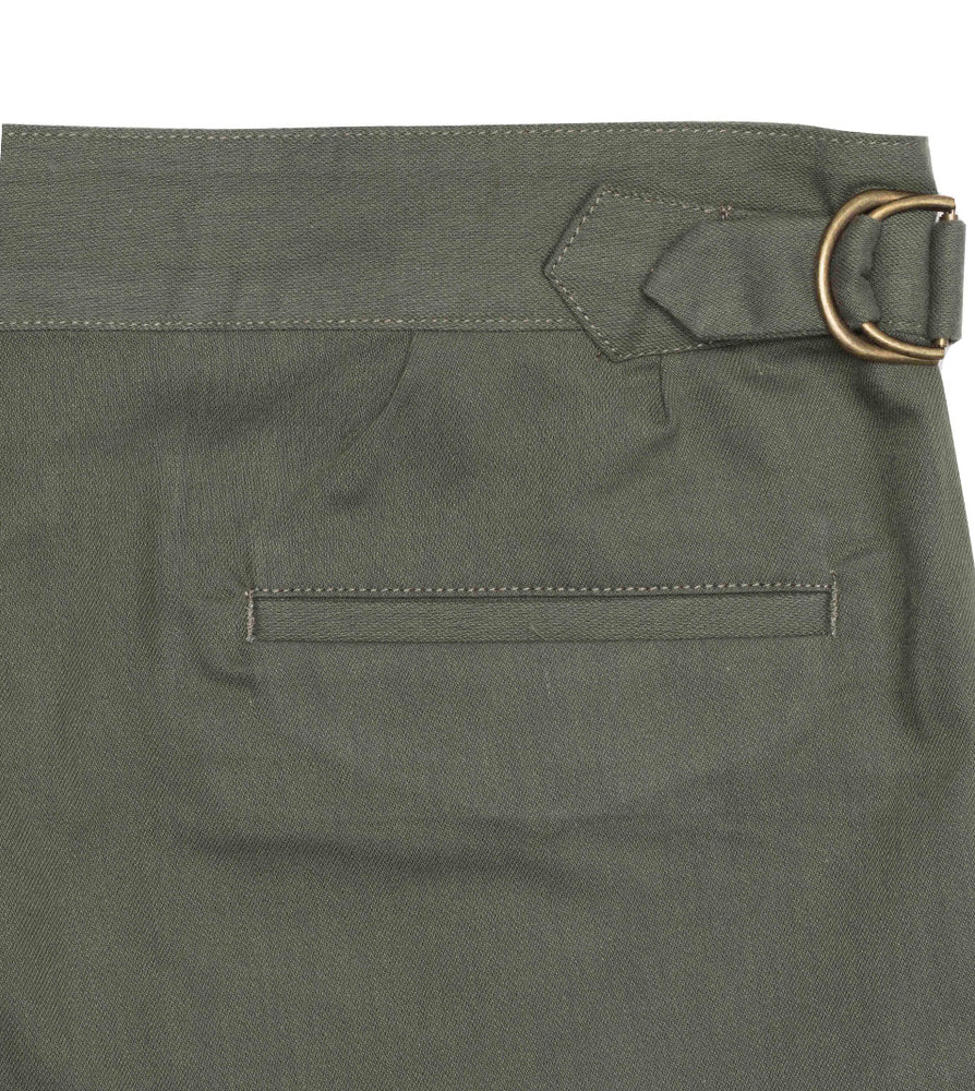 Load image into Gallery viewer, Bermondsy Vintage Military Shorts In Military Green Back