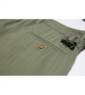 Load image into Gallery viewer, Masuda Washed Chino In Military Green Back