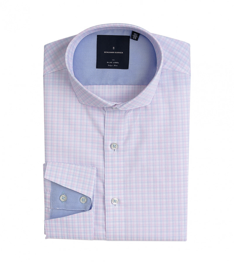Konishi Easy Iron Check Shirt Folded
