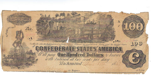 $100 Confederate Bill