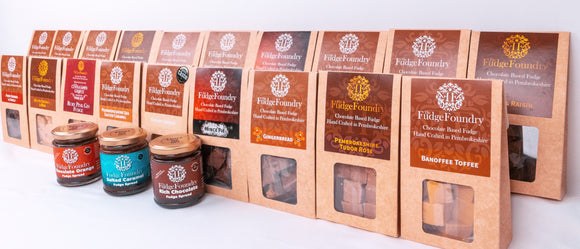 Hand crafted Belgian Chocolate based fudge in a range of unique flavours