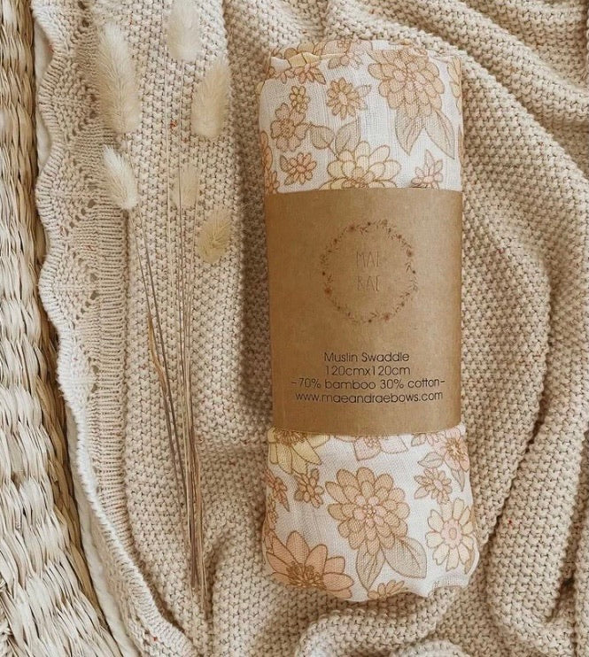 Bamboo Swaddle - Peach Bloom - Mae & Rae