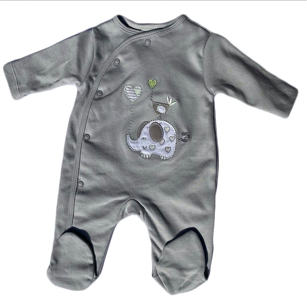 Elephant & Bird Cotton Sleepsuit - Grey