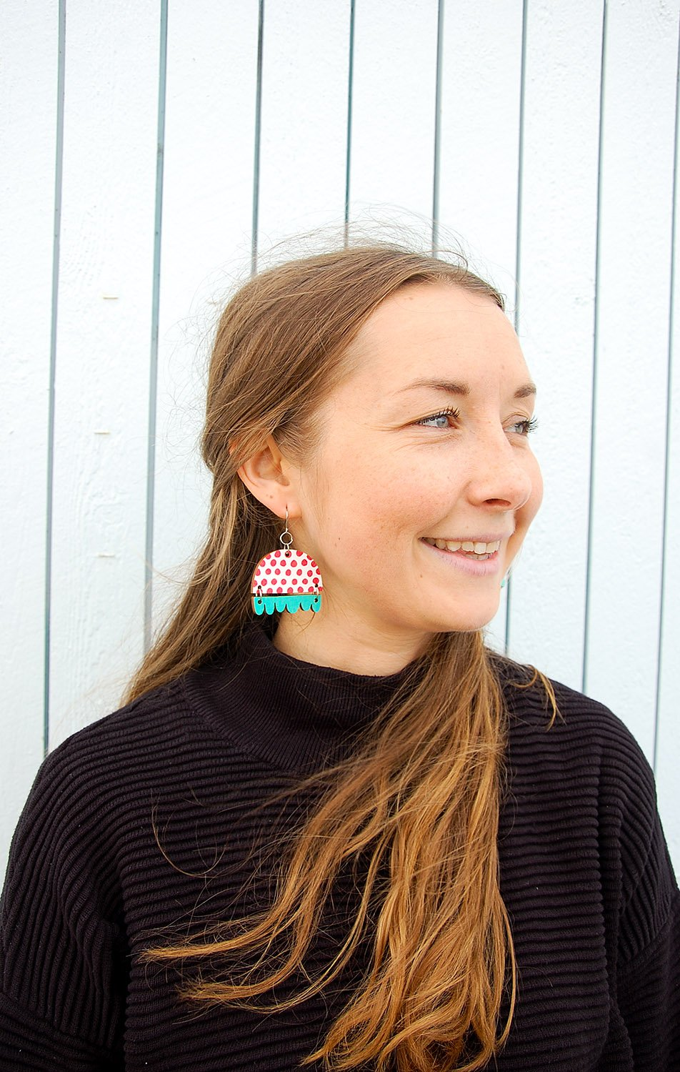 Kissankello Earrings Red/Turquoise