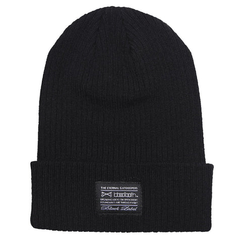 Label Ribbed Knit Beanie - Black
