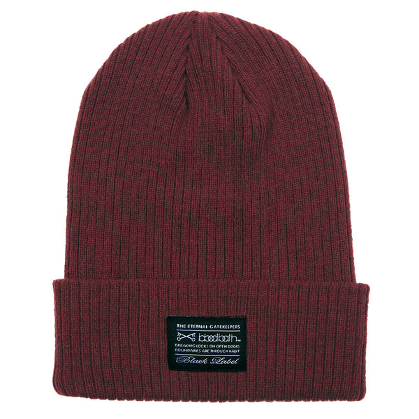 Label Ribbed Knit Beanie - Maroon