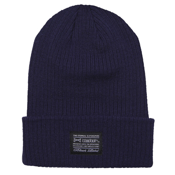 Label Ribbed Knit Beanie - Navy