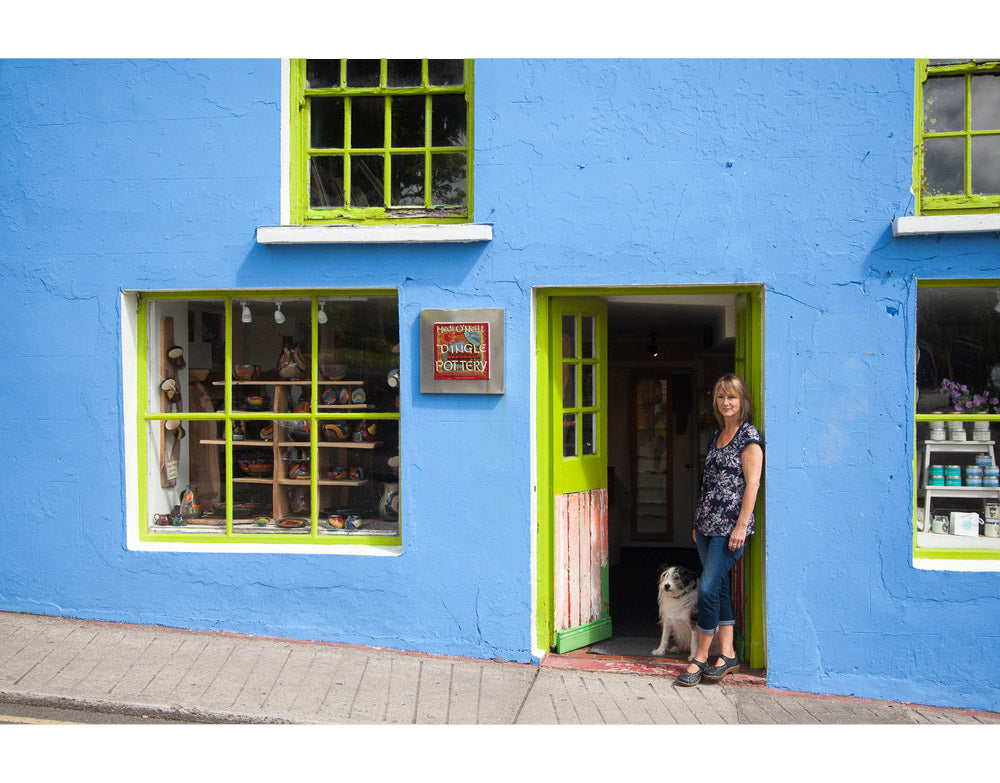 Hedi outside the Dingle Pottery Shop