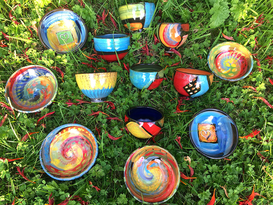 Pots on the grass