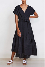 Amaro Wrap Dress-Black