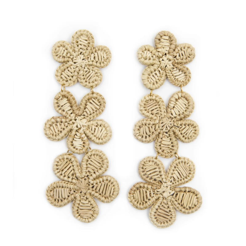 Natural Rattan Flower Earring