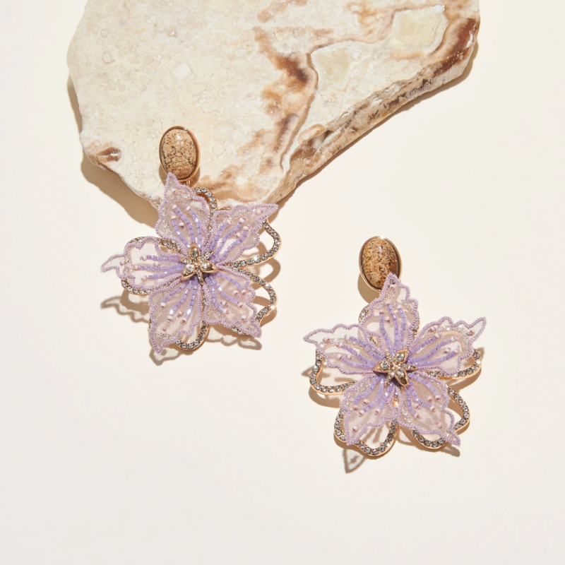 Iris Drop Earrings- Lilac