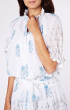 Load image into Gallery viewer, Blouson Dress with Rose Block Print- Blue/Gold