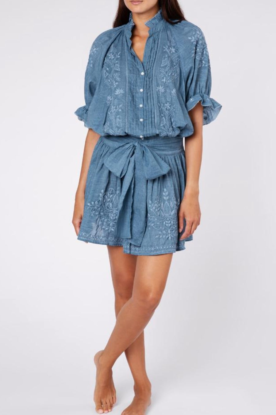 Acid Wash Blouson Dress with Tonal Lotus Embroidery