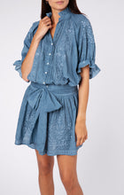 Load image into Gallery viewer, Acid Wash Blouson Dress with Tonal Lotus Embroidery