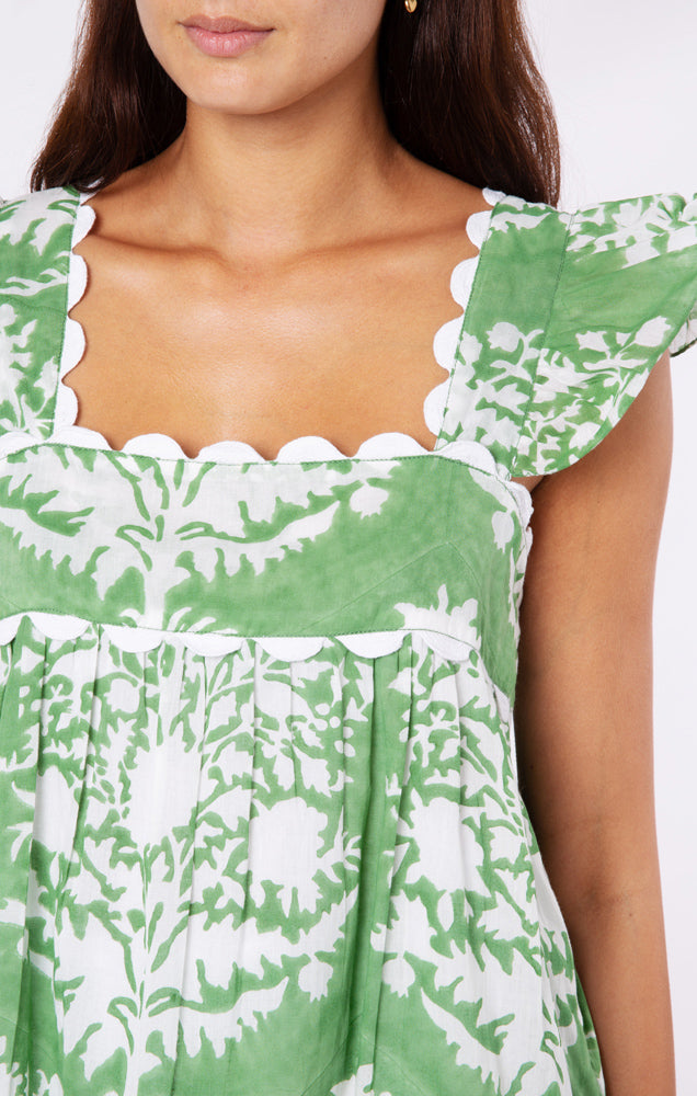 Baby Doll Top in Palladio Block Print- Green
