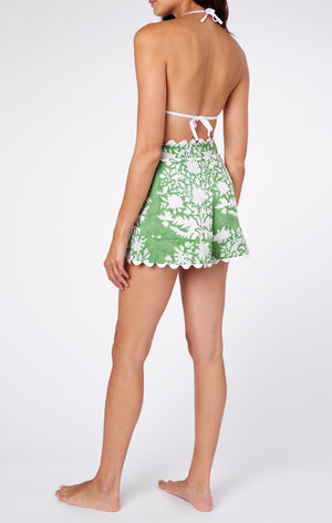 High Waisted Shorts in Palladio Block Print- Green