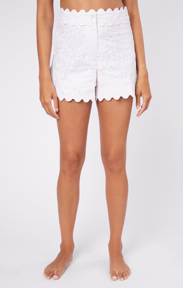 High Waisted Shorts in Palladio Block Print- White