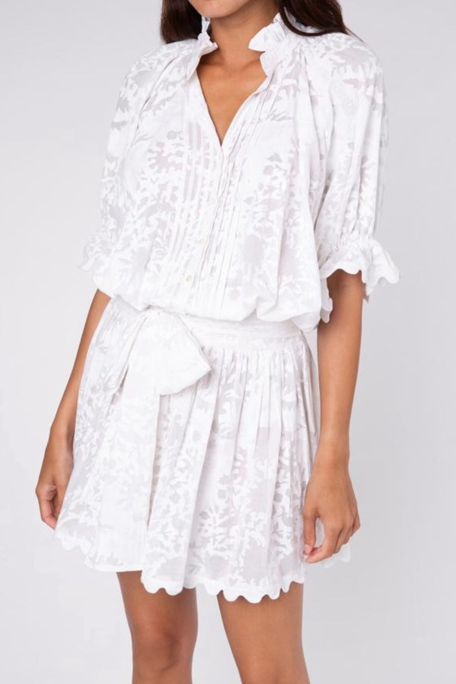 Palladio Print Blouson Dress- White