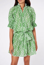 Load image into Gallery viewer, Blouson Dress in Flower Block Print- Green