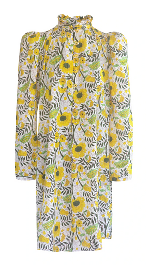 Mini Laura Sunflower Block Print Dress