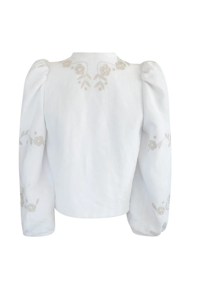 Erika White and Cream Hand Embroidered Jacket