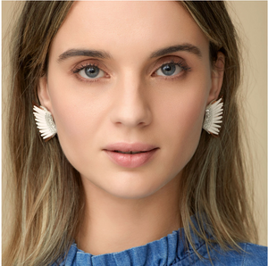 Mini Madeline Earrings- White/Gold