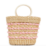 Mini Beach Bag with Shells-Pink