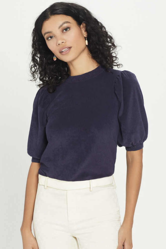 Short Sleeve Puff Terry Top with Pointelle Trim- Navy
