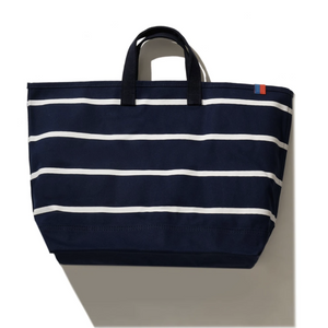 The Horizontal Stripe Tote-Navy/White