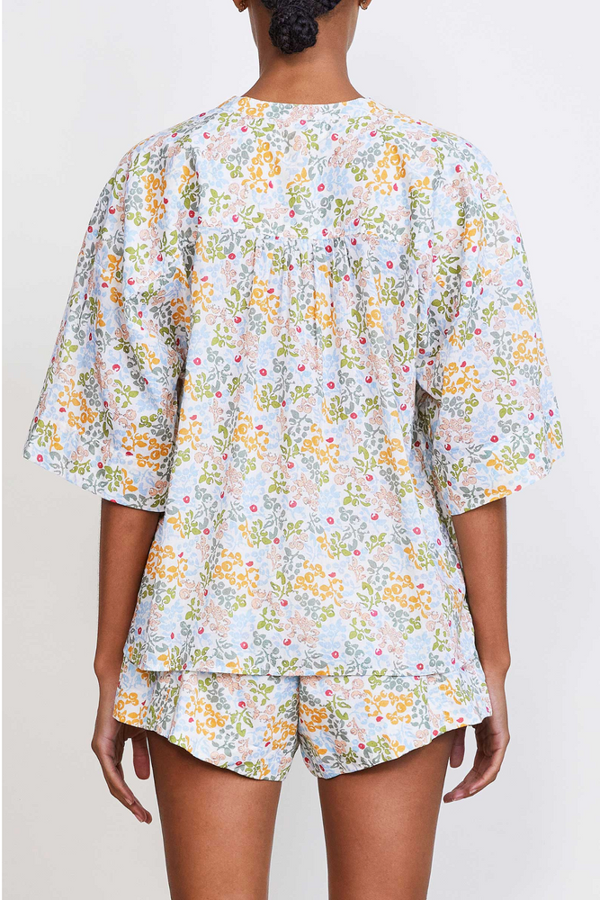 Shirred Mission Top- Light Ditsy Floral