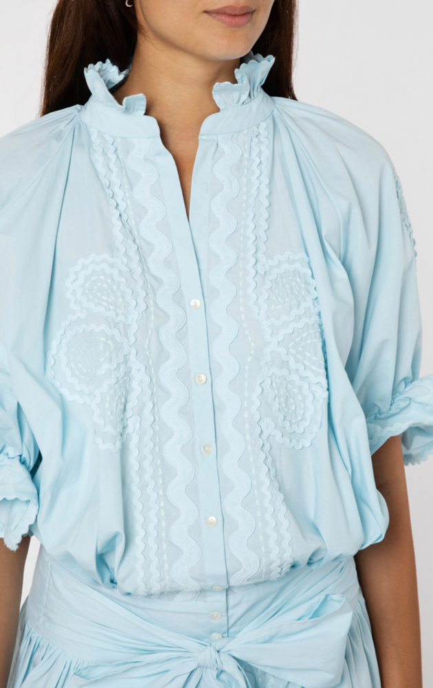 Poplin Blouson with Ric Rac Detail in Ice Blue