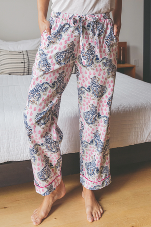 Load image into Gallery viewer, Tiger Queen Pajama Pants- Rose