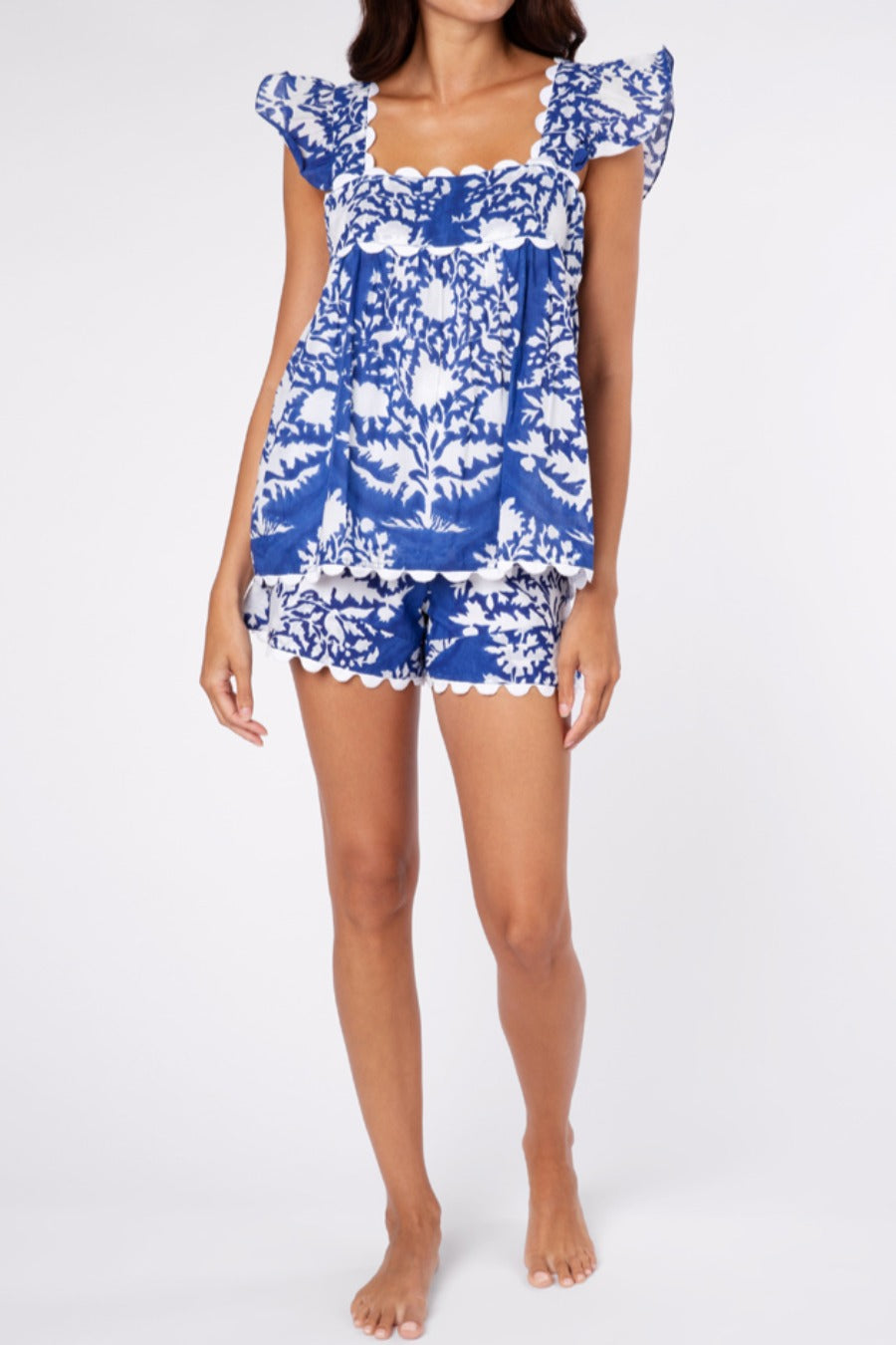 Baby Doll Top in Palladio Block Print- Blue