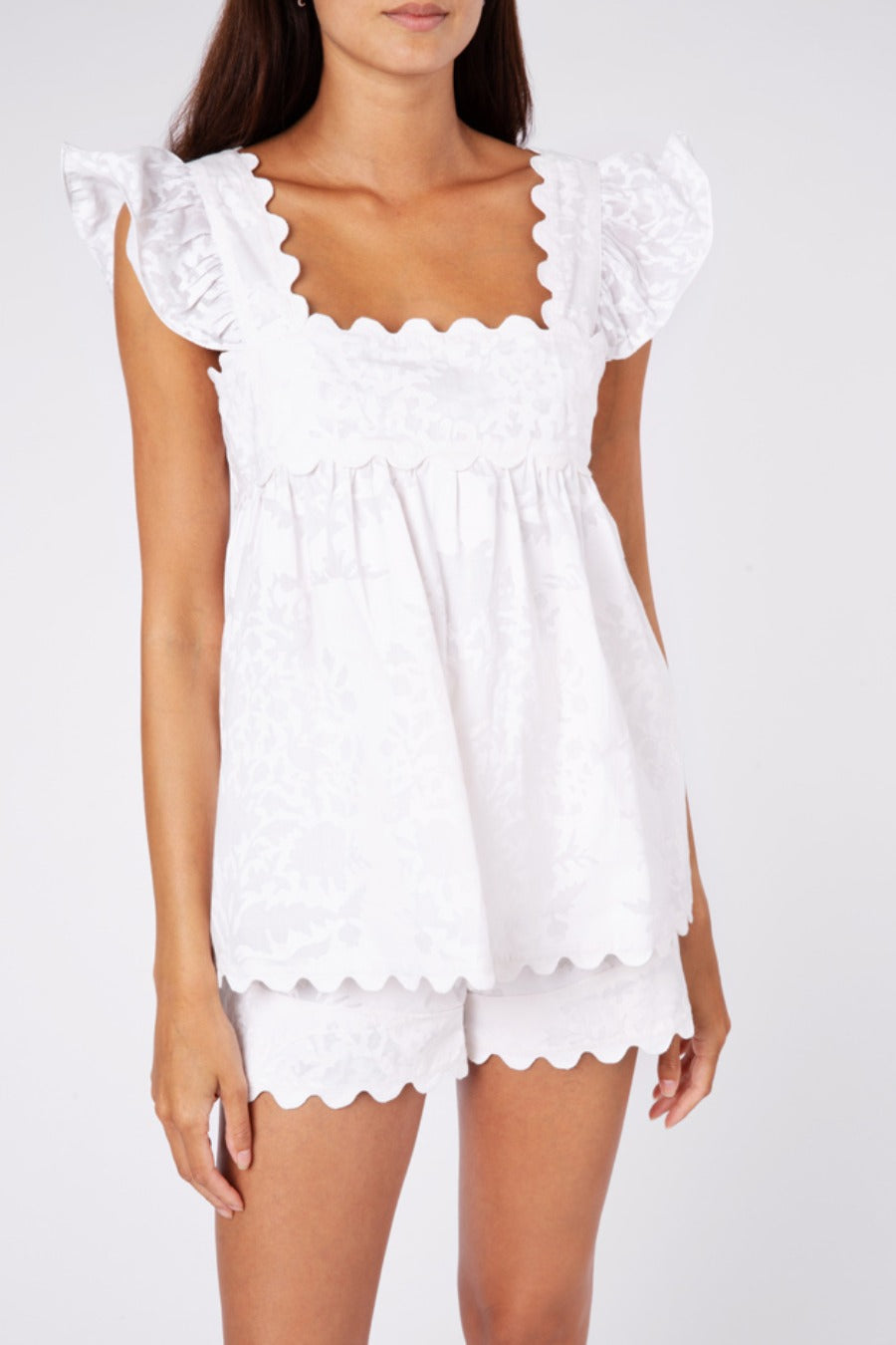 Baby Doll Top in Palladio Block Print- White
