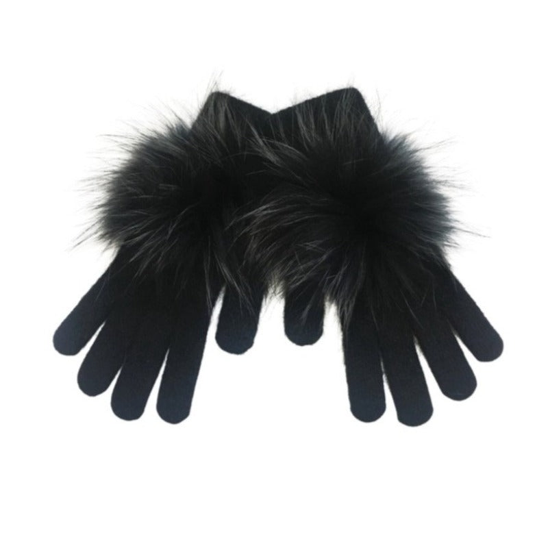 Cashmere Blend Gloves- Black