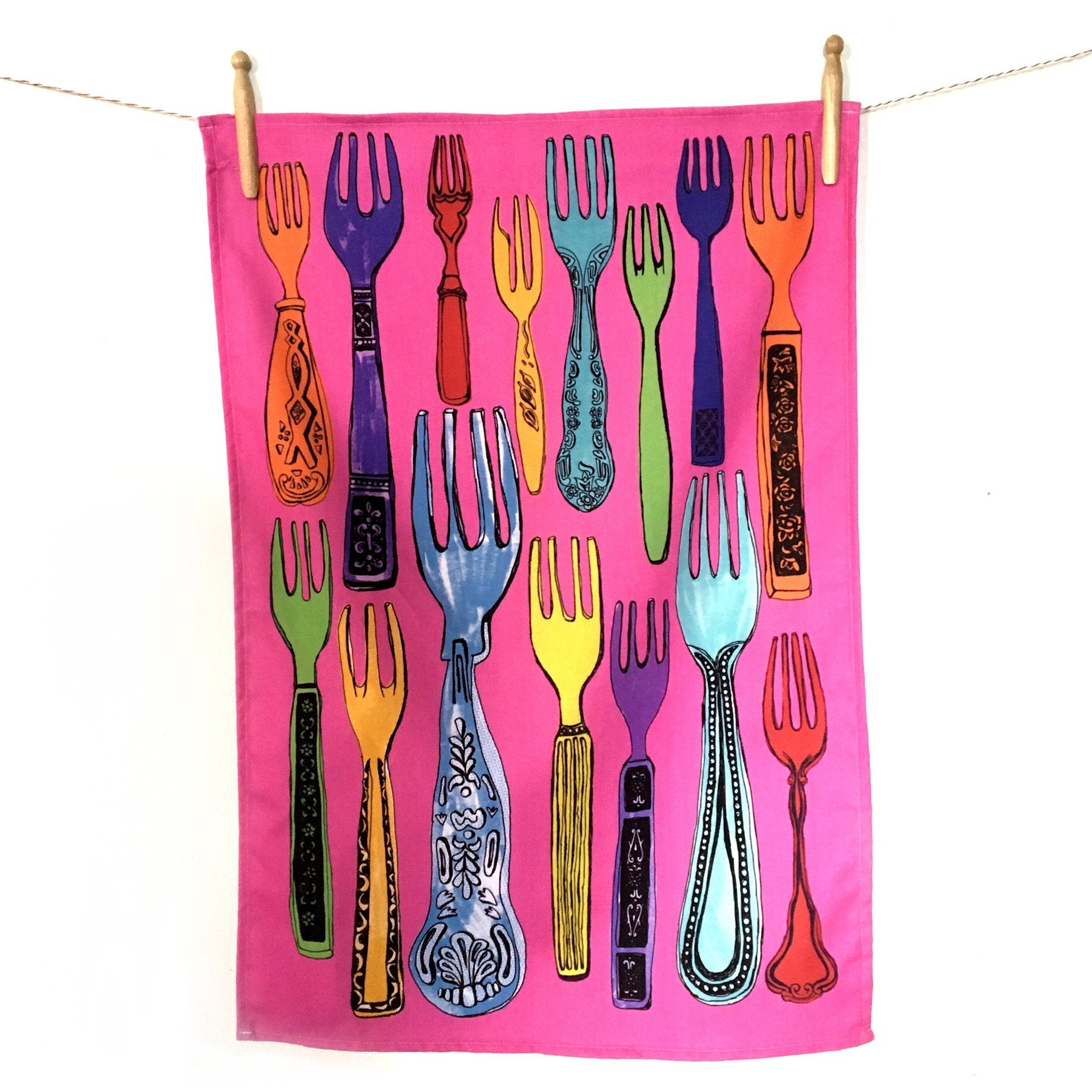'Forks N' All' 100% Cotton Tea Towel