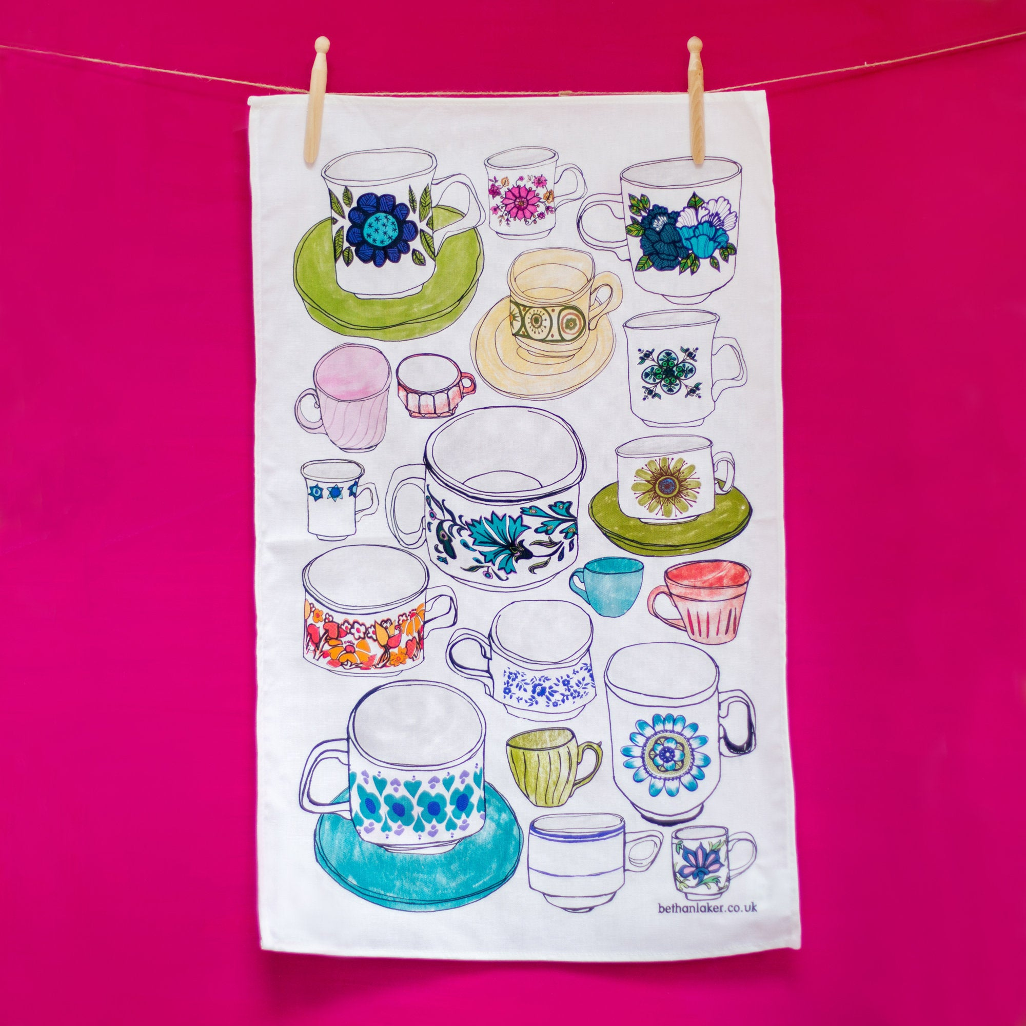 'Fill Your Cups!' 100% Cotton Tea Towel